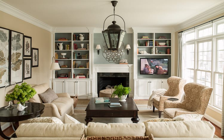 Our clients  family room  They ve since moved across country     Tips For Relaxing a  Formal  Home. Traditional Home Living Rooms. Home Design Ideas